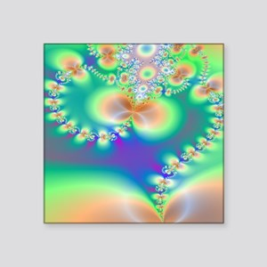 "Fractal Heart Shower curtai Square Sticker 3"" x 3"""