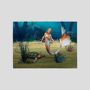 Mermaid und Turtle 5'x7'Area Rug
