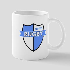 Rugby Shield White Lt Blue Mug