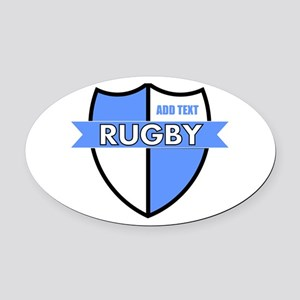 Rugby Shield White Lt Blue Oval Car Magnet