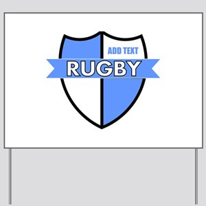 Rugby Shield White Lt Blue Yard Sign