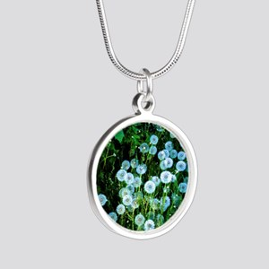Alaska Flowers 9 Silver Round Necklace