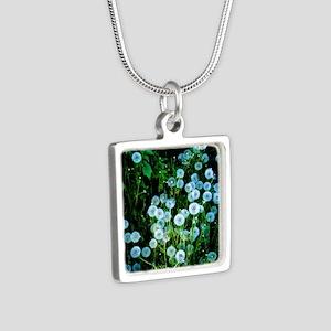 Alaska Flowers 9 Silver Square Necklace