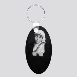 Mother Teresa (black and wh Aluminum Oval Keychain