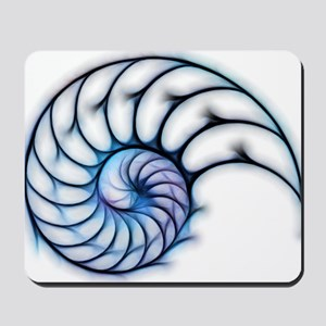 Sectioned shell of a nautilus, artwork Mousepad