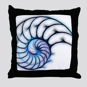 Sectioned shell of a nautilus, artwor Throw Pillow