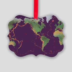 Earth's volcanoes and earthquakes Picture Ornament