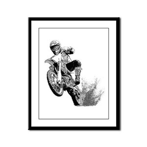 Dirtbike Wheeling in Mud Framed Panel Print