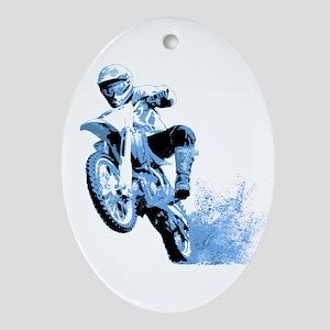 Blue Dirtbike Wheeling in Mud Ornament (Oval)
