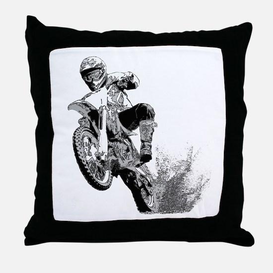 Dirtbike Wheeling in Mud Throw Pillow
