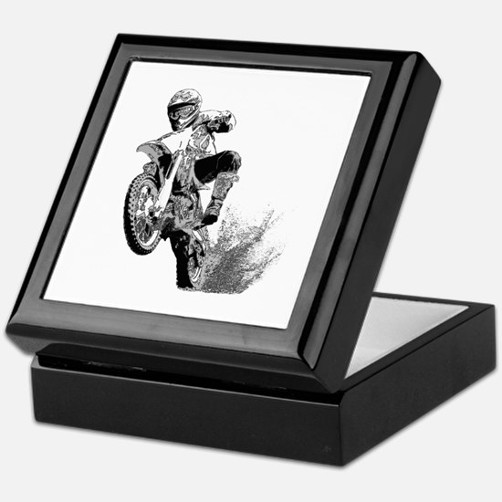 Dirtbike Wheeling in Mud Keepsake Box