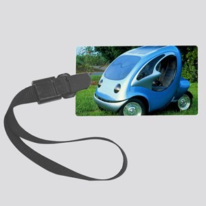 Electric car with solar panels Large Luggage Tag