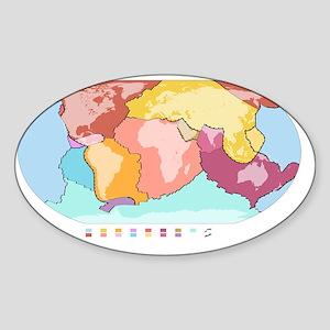 World tectonic plates, global map Sticker (Oval)