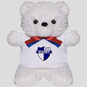 Rugby Shield White Blue Teddy Bear