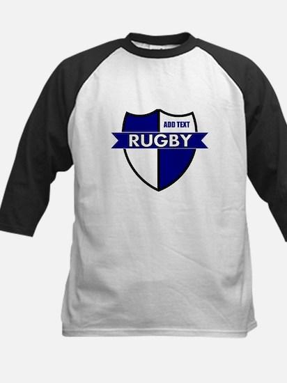 Rugby Shield White Blue Kids Baseball Jersey