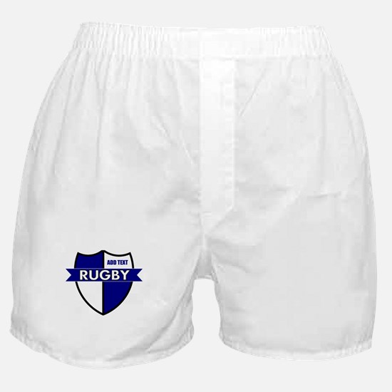 Rugby Shield White Blue Boxer Shorts