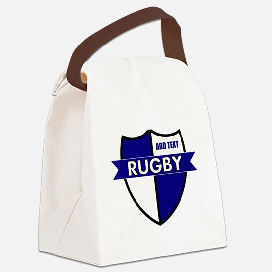 Rugby Shield White Blue Canvas Lunch Bag