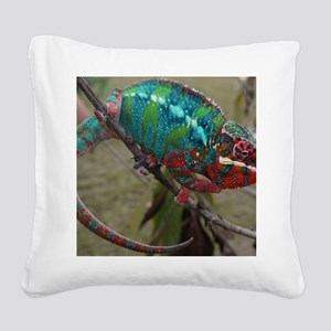 Red Blue and Green Panther Ch Square Canvas Pillow