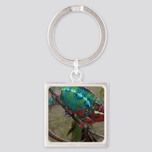 Red Blue and Green Panther Chamele Square Keychain