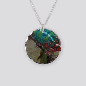 Red Blue and Green Panther C Necklace Circle Charm