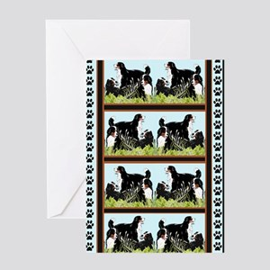Bernese Mountain dogs In The Grass Greeting Card