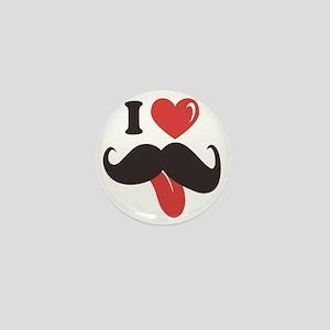 I Love Mustache Mini Button