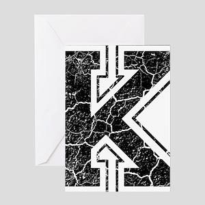 Letter K in black vintage look Greeting Card