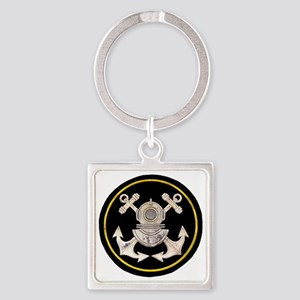 3-Bolt Dive Helmet and Anchors Square Keychain