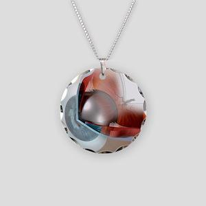 Eye anatomy, artwork Necklace Circle Charm
