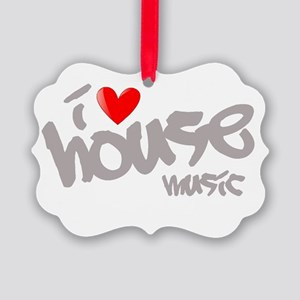 I Love House Music Picture Ornament