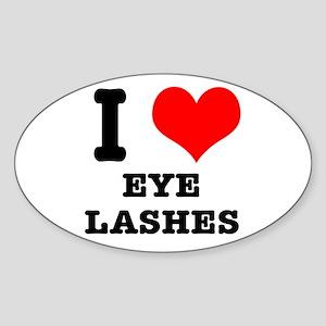 I Heart (Love) Eyelashes Oval Sticker