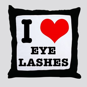 I Heart (Love) Eyelashes Throw Pillow