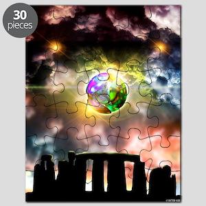 Glowing ball UFO over Stonehenge Puzzle