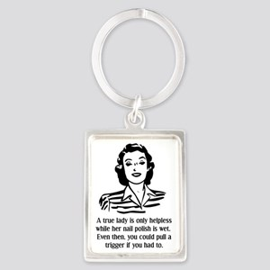 Defenseless Lady Funny T-Shirt Portrait Keychain