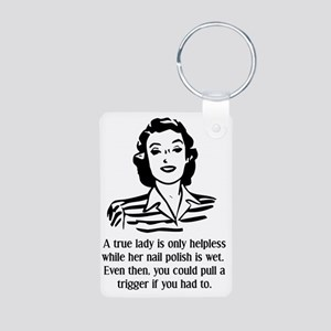 Defenseless Lady Funny T-S Aluminum Photo Keychain