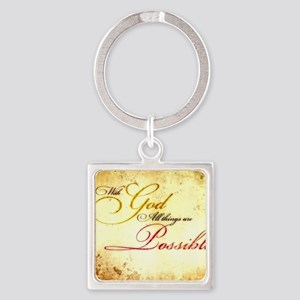 with god gold vintage Square Keychain