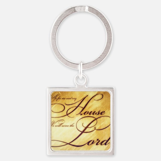 As for me and my house Vintage Square Keychain