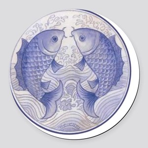Asian Icthus Queen Sized Round Car Magnet