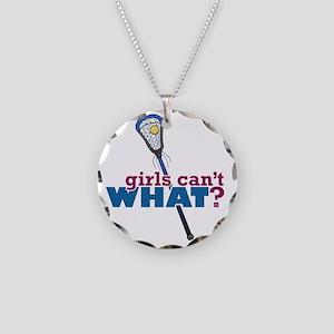 Lacrosse Stick Blue Necklace Circle Charm