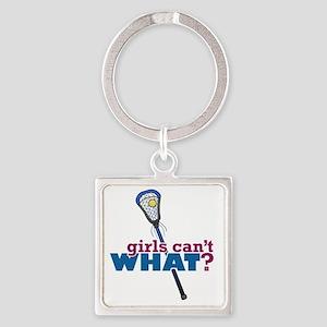 Lacrosse Stick Blue Square Keychain