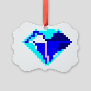 Blue Gem Pixel Art 8-Bit Diamond  Picture Ornament