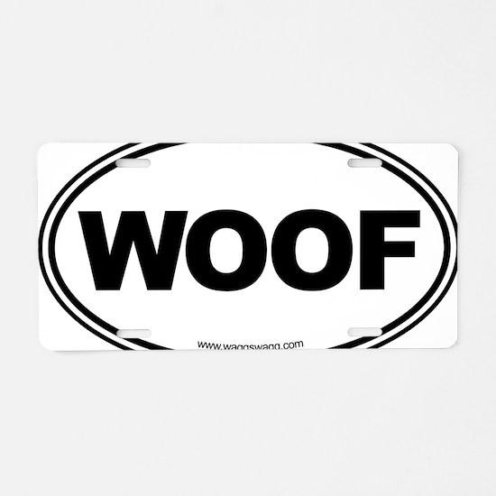 WOOF! Black Aluminum License Plate