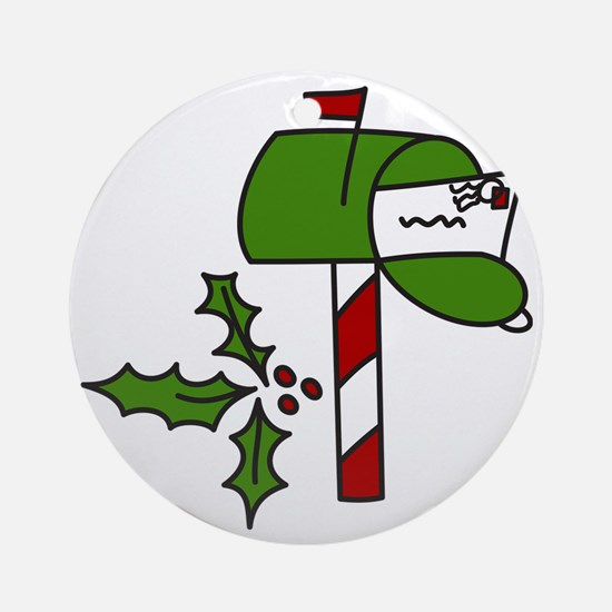 Christmas Mailbox Round Ornament