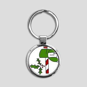 Christmas Mailbox Round Keychain