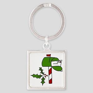 Christmas Mailbox Square Keychain