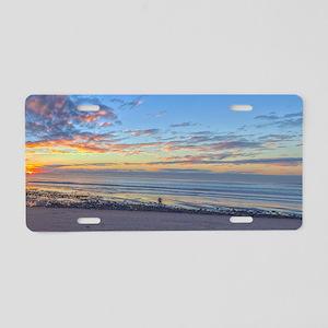 sunset walk on the beach Aluminum License Plate