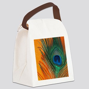 peacock with sparkly orange Canvas Lunch Bag