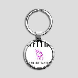 Short Girl Funny Round Keychain