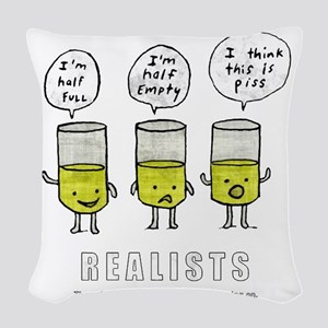 Realist and the two idiots Woven Throw Pillow