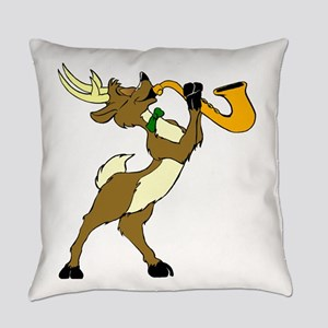 Reindeer And Saxophone Everyday Pillow